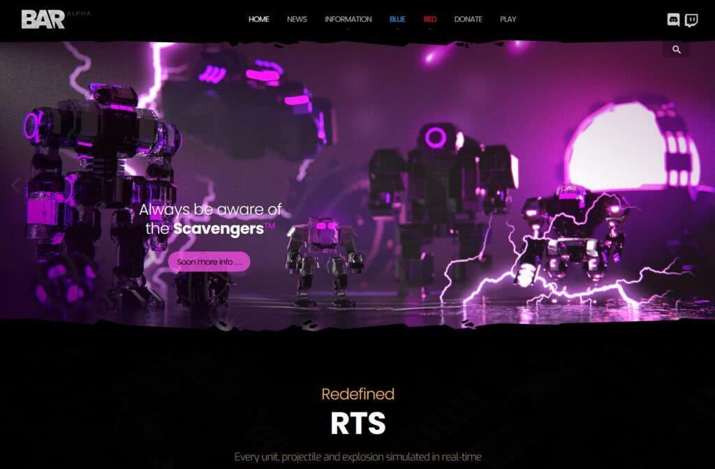 Beyond All Reason Website Screenshot